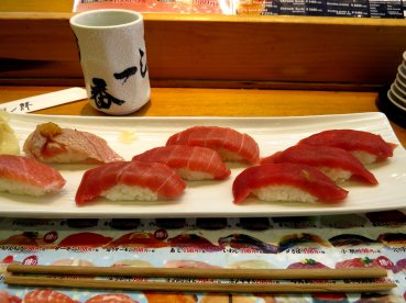 Tuna sushi from Tsukiji Fish market.